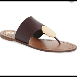 💍 TORY BURCH PATOS MALBEC/GOLD LEATHER SLIDES 💍